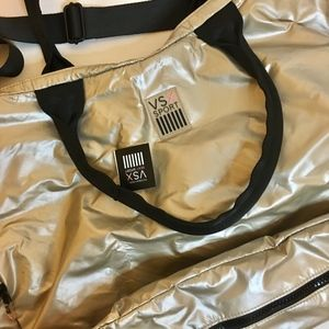 NWT Vitoria's Secret Sport VSX gym duffel bag gold